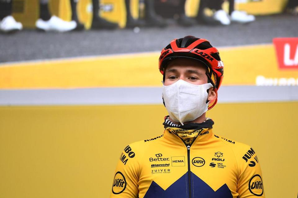 SALLENT DE GLLEGO SPAIN  OCTOBER 25 Start  Primoz Roglic of Slovenia and Team Jumbo  Visma Red Leader Jersey  Mask  Covid safety measures  Team Presentation  during the 75th Tour of Spain 2020  Stage 6 a 1464km stage from Biescas to Sallent de Gllego  Aramn Formigal 1790m  lavuelta  LaVuelta20  La Vuelta  on October 25 2020 in Sallent de Gllego Spain Photo by David RamosGetty Images