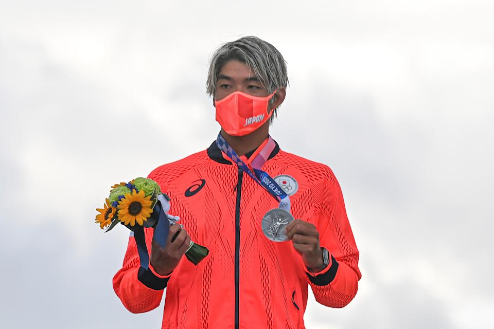 Igarashi Kanoa of Japan attends the awarding ceremony of the men's surfing final at Tsurigasaki Surfing Beach in Chiba Prefecture, Japan, July 27, 2021. (Photo by Du Yu/Xinhua via Getty Images)