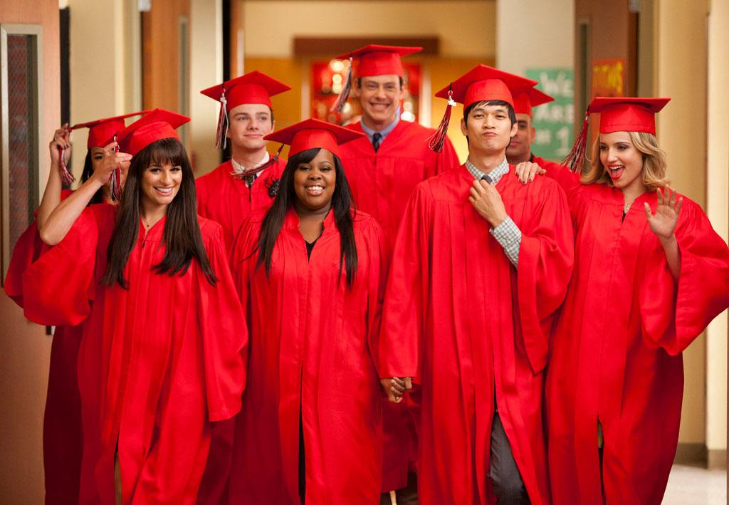 "The Seniors from McKinley High graduate in the ""Goodbye"" season finale episode of ""Glee."""