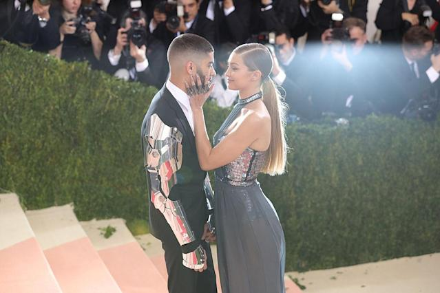 Gigi Hadid and Zayn Malik make their red carpet debut at the Met Gala in May 2016, in New York. (Photo: Neilson Barnard/Getty Images for the Huffington Post)