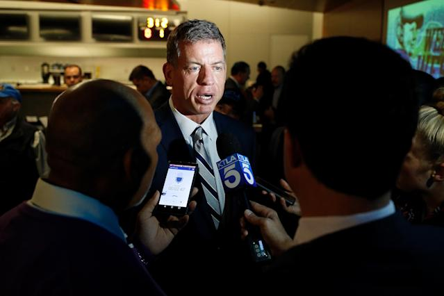 "Troy Aikman wants a raise if he's going to add ""Thursday Night Football"" to his workload this fall. (Getty Images)"