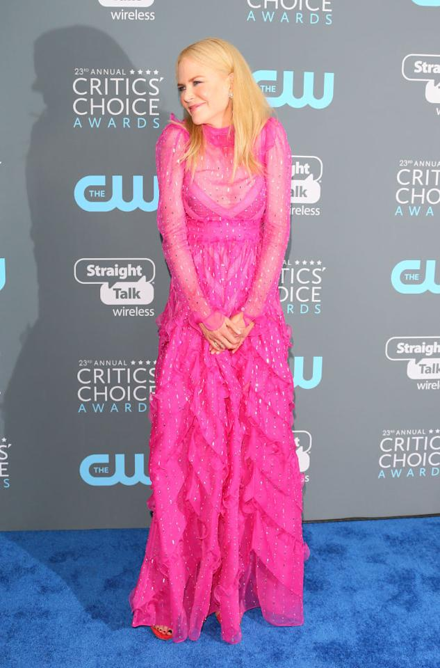 <p>Nicole Kidman stole the sartorial spotlight at the Critics' Choice Awards 2018 in a sheer, fuchsia-hued dress by Valentino. <em>[Photo: Getty]</em> </p>
