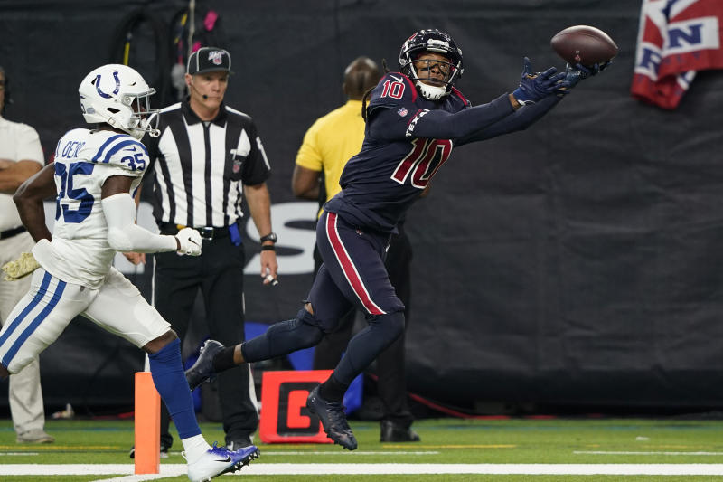Houston Texans wide receiver DeAndre Hopkins (10) makes a touchdown catch past Indianapolis Colts cornerback Pierre Desir (35). (AP Photo/David J. Phillip)