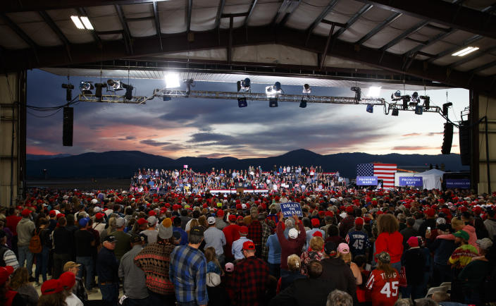 President Donald Trump speaks at a campaign rally at Minuteman Aviation Hangar, Thursday, Oct. 18, 2018, in Missoula, Mont. (AP Photo/Carolyn Kaster)