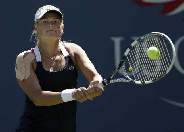 Aleksandra Wozniak's comeback from shoulder surgery continues this week in Saguenay, Quebec. (AP Photo/Frank Franklin II)