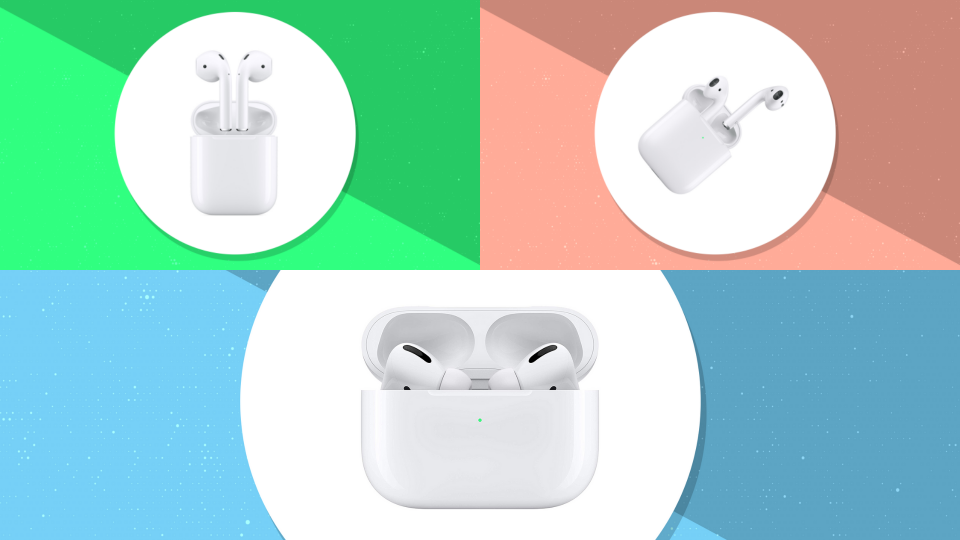 The three faces of Apple AirPods: 2nd generation, with charging case, and Pro.
