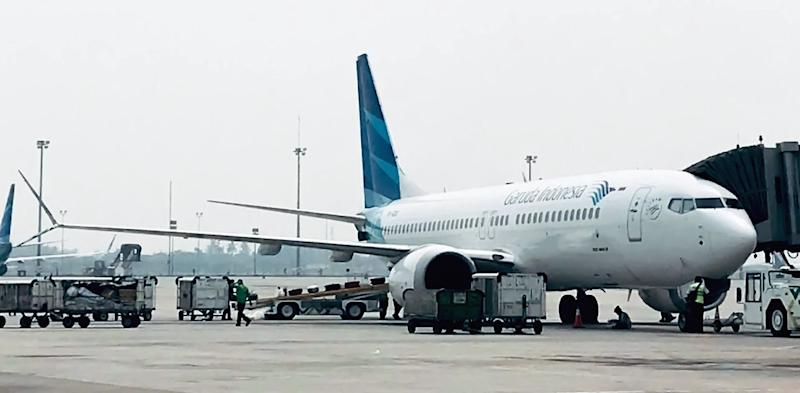 This is the one Boeing 737 Max 8 jet that Garuda received before asking to cancel the other 49 (AFP Photo/IHWAN IDAMIN HARAHAP, IHWAN IDAMIN HARAHAP)