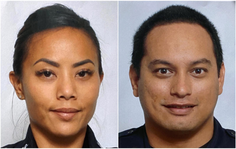 This undated photo provided by the Honolulu Police Department shows Officers Tiffany Enriquez, left, and Kaulike Kalama. Enriquez and Kalama were killed Sunday, Jan. 19, 2020, while responding to a call. (Courtesy of Honolulu Police Department via AP)