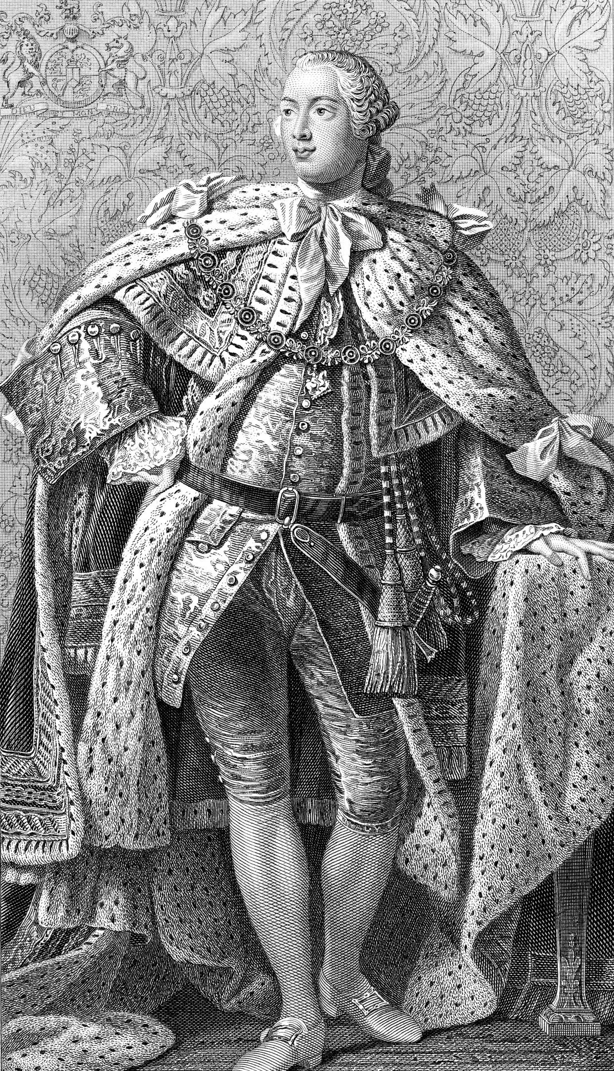 An engraved vintage illustration portrait image of George III king of England, UK, from a Victorian book dated 1886 that is no longer in copyright