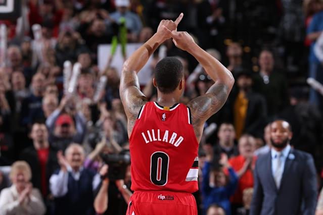"""It's time for <a class=""""link rapid-noclick-resp"""" href=""""/nba/players/5012/"""" data-ylk=""""slk:Damian Lillard"""">Damian Lillard</a> to remind us all what time it is. (Getty Images)"""