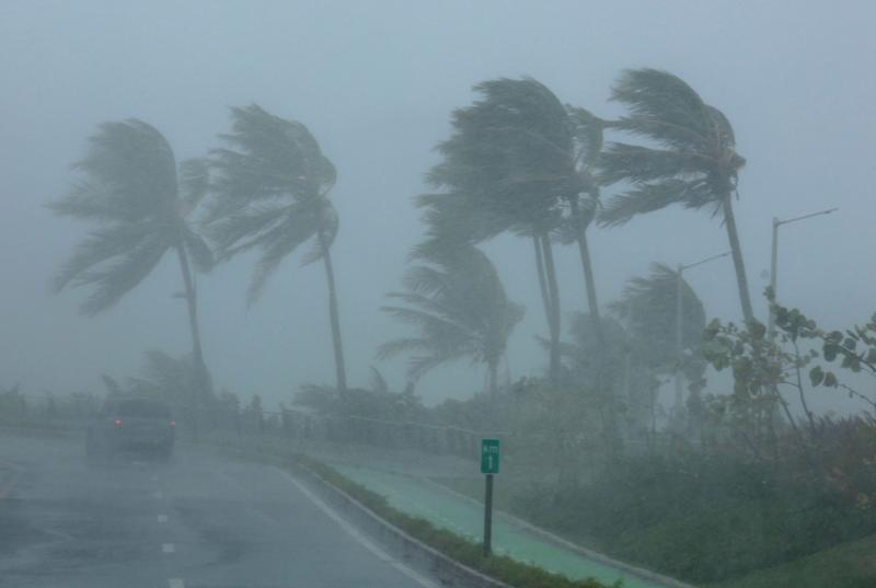 Palm trees bend in the wind as Hurricane Irma slammed across islands in the northern Caribbean on Wednesday, in San Juan, Puerto Rico Sept. 6, 2017.
