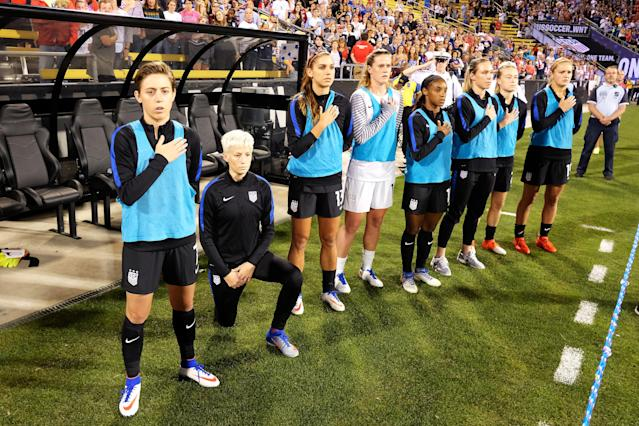 "<a class=""link rapid-noclick-resp"" href=""/olympics/rio-2016/a/1124356/"" data-ylk=""slk:Megan Rapinoe"">Megan Rapinoe</a> knelt for the national anthem before national team games before U.S. Soccer instituted a policy outlawing such protests. (Getty)"