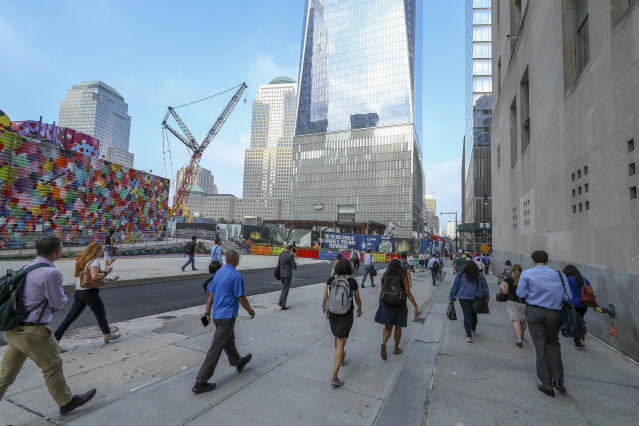 <p>Construction continues on Vesey Street with One World Trade Center in the background, on Sept. 5, 2018. (Photo: Gordon Donovan/Yahoo News) </p>