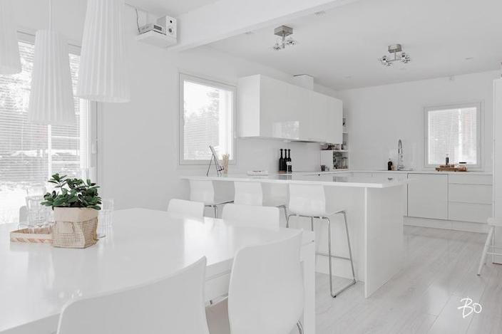 All white interiors may look pretty clean, but they can also come off as cold and sterile.