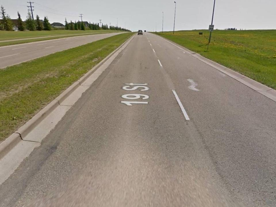 A 17-year-old driver has a Nov. 8 court date after RCMP clocked a vehicle travelling at 128 km/h on this Red Deer residential street, which is a 70 km/h zone.  (Google Maps - image credit)