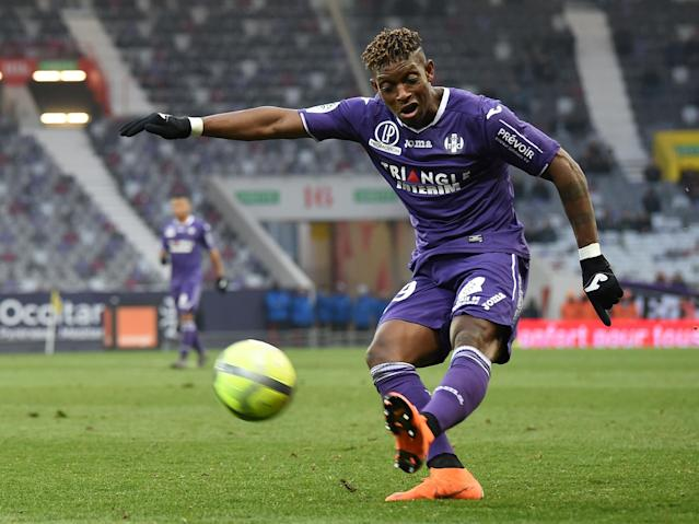 Soccer Football - Ligue 1 - Toulouse vs AS Monaco - Stadium Municipal de Toulouse, Toulouse, France - February 24, 2018 Toulouse's Francois Moubandje in action REUTERS/Fred Lancelot