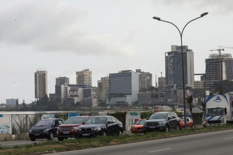 The buildings of the central business district of Plateau are pictured ahead of the presidential elections in Abidjan