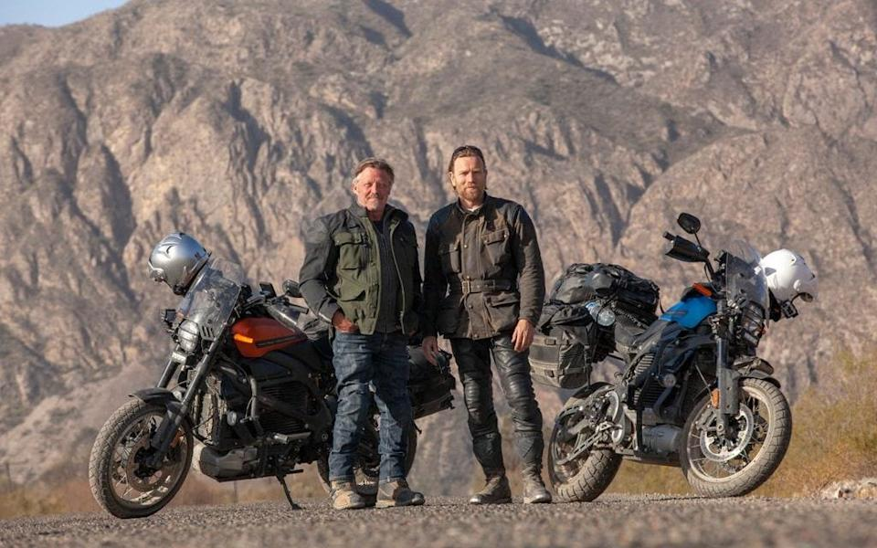 Ewan McGregor and Charley Boorman take a break from their cross-country mission