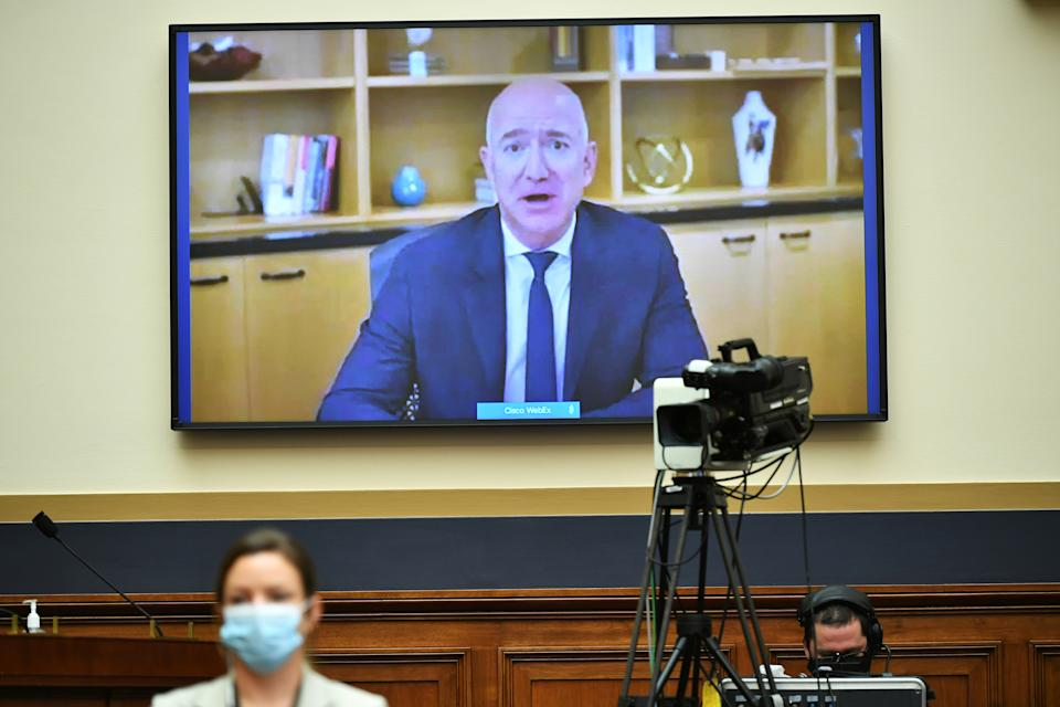 """Amazon CEO Jeff Bezos testifies before the House Judiciary Subcommittee on Antitrust, Commercial and Administrative Law during a hearing on """"Online Platforms and Market Power"""" in the Rayburn House office Building on Capitol Hill, in Washington, U.S., July 29, 2020. Mandel Ngan/Pool via REUTERS"""