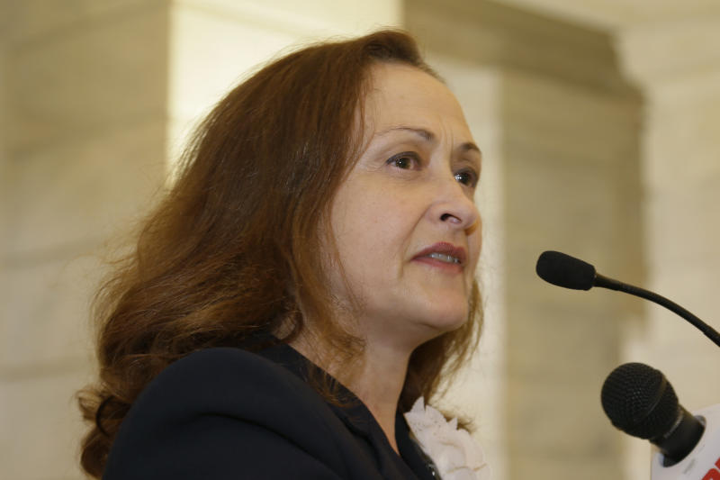 Rita Sklar, executive director of the American Civil Liberties Union of Arkansas, speaks during a news conference at the Arkansas state Capitol in Little Rock, Ark., Tuesday, April 16, 2013. Abortion rights proponents filed a federal lawsuit Tuesday to block Arkansas' new abortion law, which is among the most restrictive in the nation. (AP Photo/Danny Johnston)