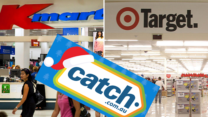 Pictured: Catch.com.au logo, Target and Kmart stores. Images: Getty, Catch.com.au