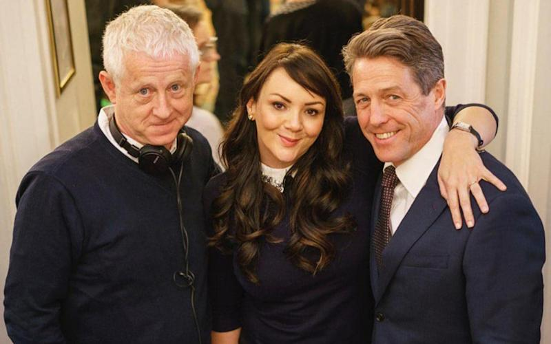 Richard Curtis, Martine McCutcheon and Hugh Grant on the set of the Comic Relief Love Actually sequel - Credit: Emma Freud, via Twitter