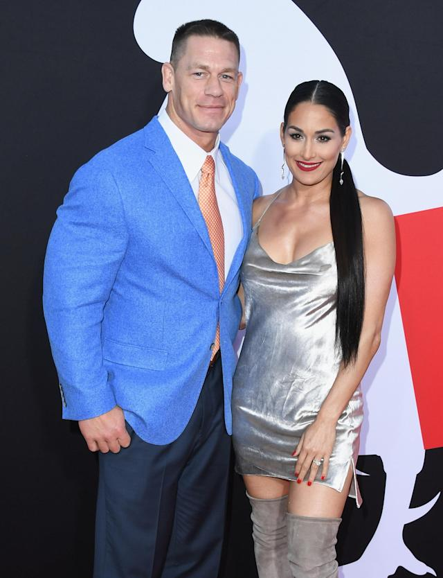 John Cena and Nikki Bella attend Universal Pictures' <em>Blockers</em> premiere on April 3 in Westwood, Calif. (Photo: Getty Images)