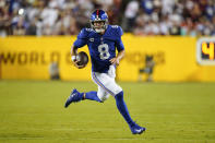 New York Giants quarterback Daniel Jones (8) runs downfield with the ball during the first half of an NFL football game against the Washington Football Team, Thursday, Sept. 16, 2021, in Landover, Md. (AP Photo/Patrick Semansky)