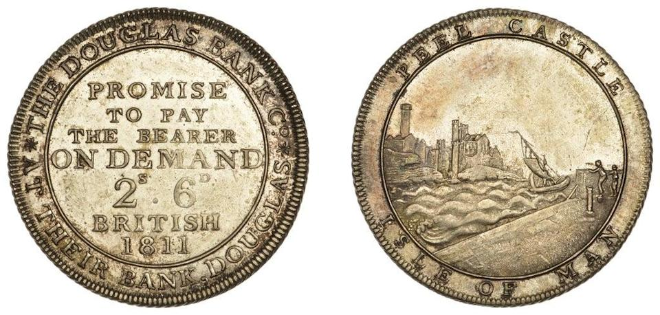 A rare halfcrown for the Douglas Bank Co, Isle of Man, dating from 1811, is part of the sale (Dix Noonan Webb/PA) (PA Media)