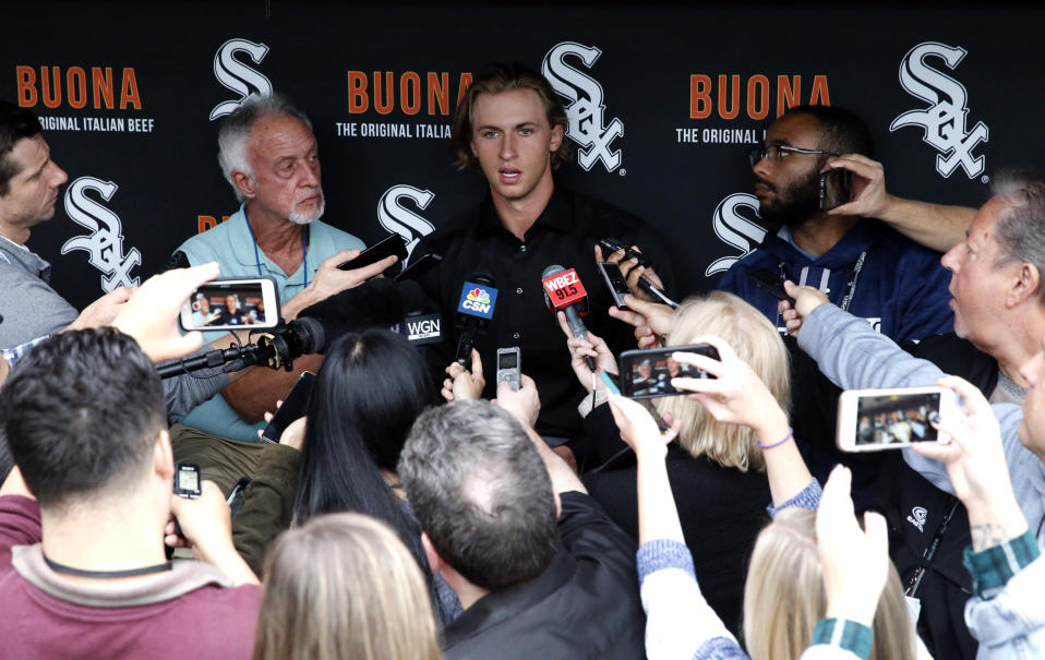 Michael Kopech and his otherworldly velocity should reach Chicago in 2018. (AP Photo/Nam Y. Huh)