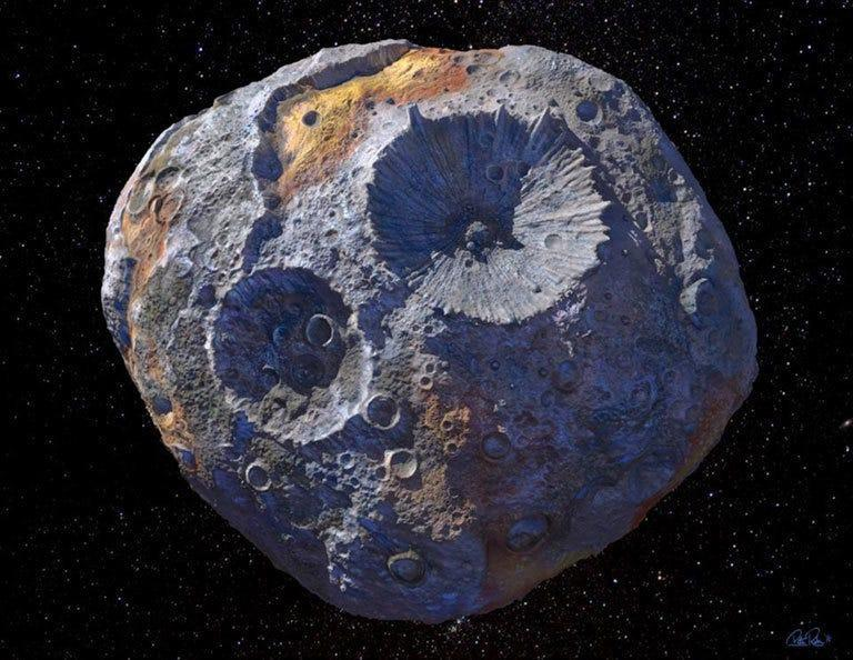 An artist's conception of the asteroid 16 Psyche, one of the most massive objects in the main asteroid belt orbiting between Mars and Jupiter. The asteroid could be made entirely of metal, according to a new study published this week.