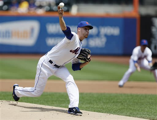 New York Mets starting pitcher Zack Wheeler delivers a pitch during the first inning of a baseball game against the Philadelphia Phillies Saturday, July 20, 2013, in New York. (AP Photo/Frank Franklin II)