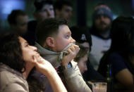 <p>New England Patriots fans react as time winds down in the fourth quarter of the NFL Super Bowl 52 football game between the Patriots and the Philadelphia Eagles in Minneapolis, Sunday, Feb. 4, 2018. (AP Photo/Steven Senne) </p>