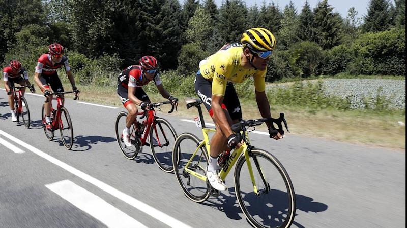 Richie Porte rides behind his BMC teammate Greg van Avermaet during stage six of the Tour de France