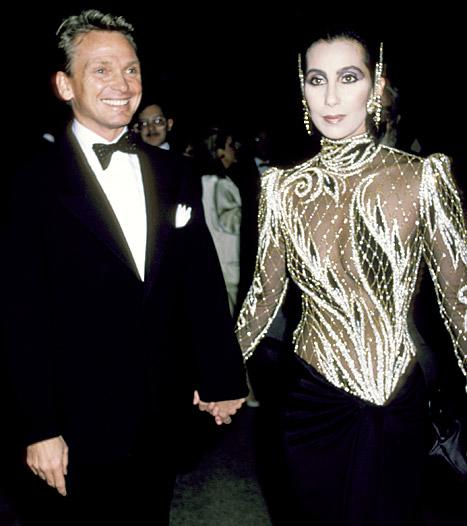 Cher and Bob Mackie attend the Diana Vreeland costume exhibit at the Metropolitan Museum in New York City in 1985