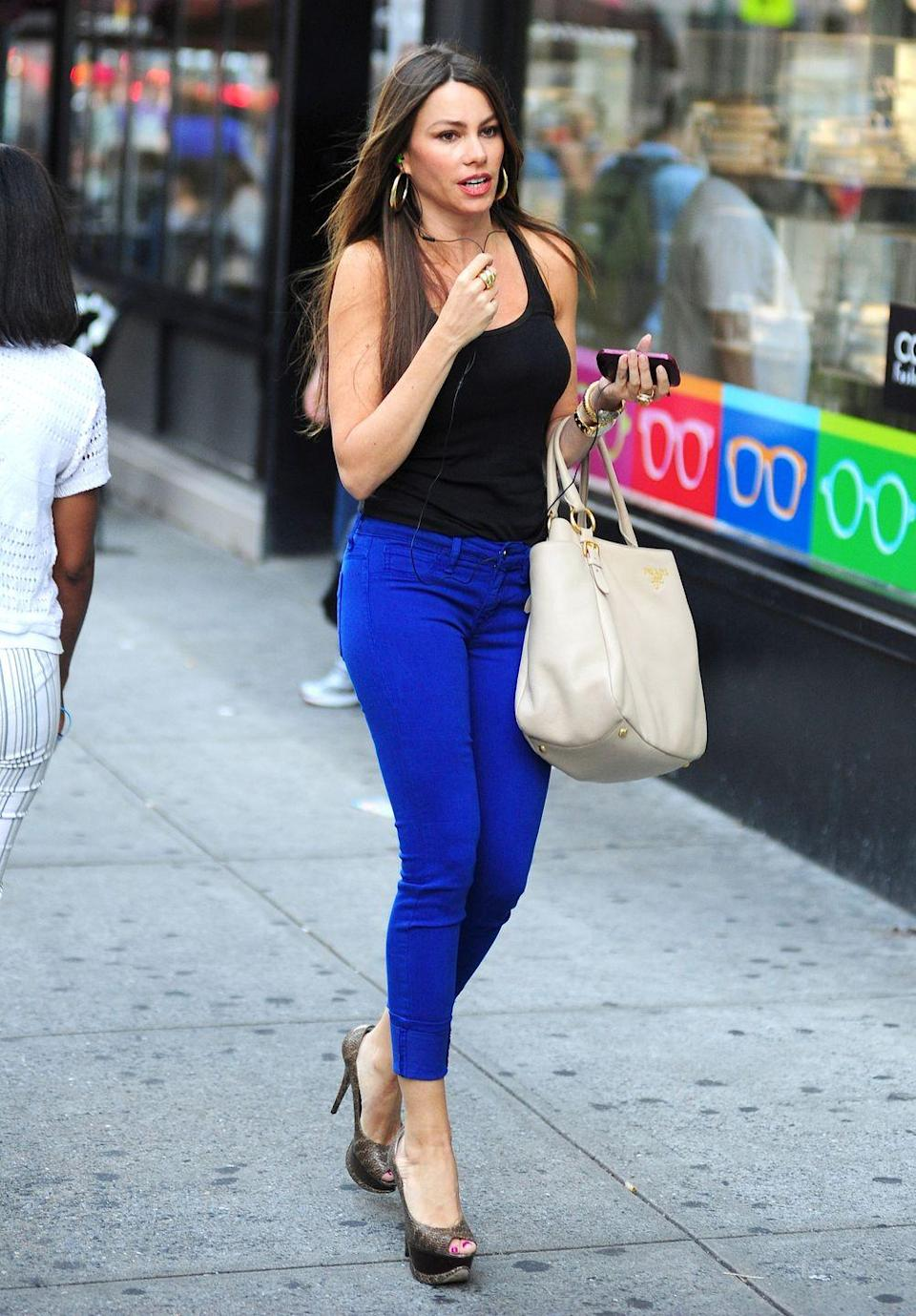 """<p>Colored denim — bright greens, reds, purples, and more — <span class=""""redactor-invisible-space"""">have their moment in the sun. For Sofia Vergara, cobalt is the trendy color of choice. </span></p>"""