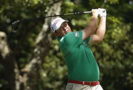 Jason Dufner of the U.S. hits off the second tee during the 2017 Masters in Augusta