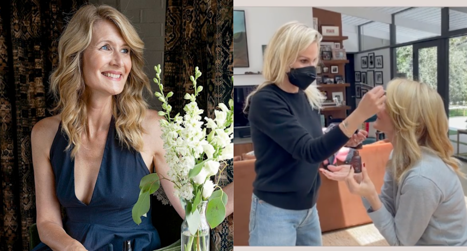 Laura Dern's red-carpet prep included this luxe $137 face oil. Images via Instagram/TrueBotanicals, Instagram/LauraDern.