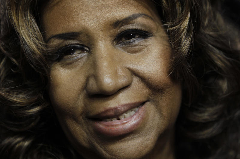 FILE - This Feb. 11, 2011 file photo shows Aretha Franklin in Auburn Hills, Mich. On Thursday, Aug. 16, 2018, Franklin died from pancreatic cancer at her home in Detroit. She was 76. (AP Photo/Paul Sancya, File)