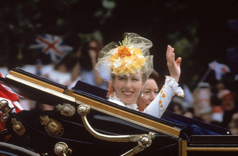 <p>Sartorially speaking, Princess Anne can do no wrong. Here she is on her way to Charles and Diana's wedding in a vibrant fascinator.</p>