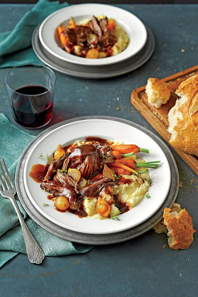 """<p><b>Recipe: <a href=""""https://www.southernliving.com/syndication/beer-braised-pot-roast"""">Beer-Braised Pot Roast</a></b></p> <p>Pot roast is the ultimate comforting Sunday supper, and it's so easy with the help of your slow cooker.</p>"""