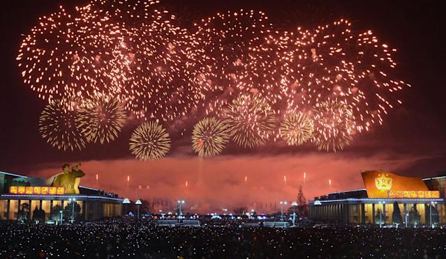 <p>This picture from North Korea's official Korean Central News Agency (KCNA) taken and released on January 1, 2018 shows fireworks ushering in the New Year in Pyongyang. (Photo: AFP/Getty Images) </p>