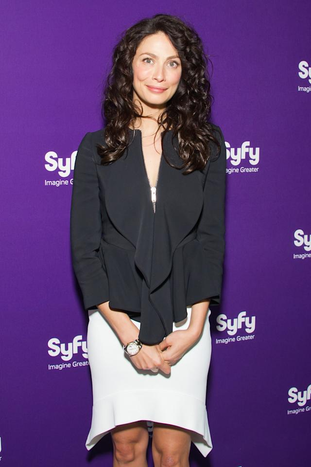 """Joanne Kelly (""""<a href=""""http://tv.yahoo.com/warehouse-13/show/39506"""">Warehouse 13</a>"""") attends Syfy's 2012 Upfront event at the American Museum of Natural History on April 24, 2012 in New York City."""