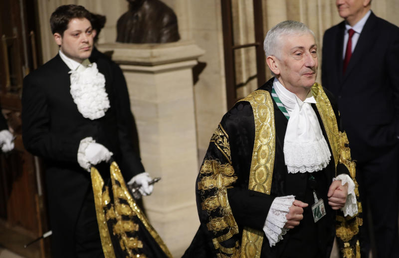 Speaker of The House of Commons Sir Lindsay Hoyle walks through the Members' Lobby in the House of Commons during the State Opening of Parliament by Queen Elizabeth II, at the Palace of Westminster in London.