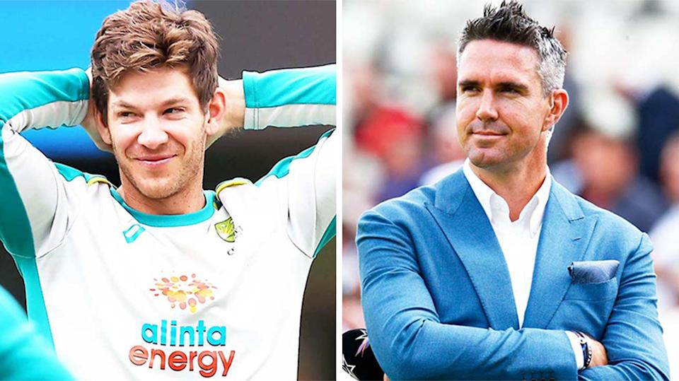 Aussie Test captain Tim Paine (pictured left) during training and (pictured right) Kevin Pietersen during commentary.