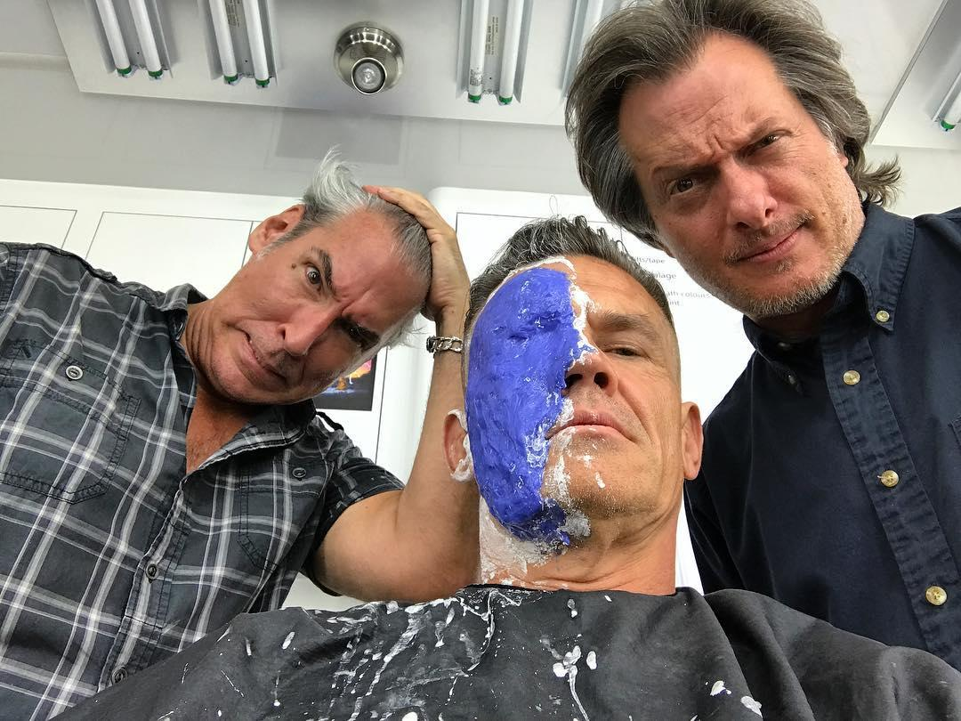 "<p>Brolin preps for work on June 28, writing: ""insanity on the brink. Face is morphing into something machine, fierce, hair sliced, arm machined, bulged. Where is Deadpool?!? Looking. Looking. All I got are these two…molding me, prodding, turning me into something hard."" (Photo: j<a rel=""nofollow"" href=""https://www.instagram.com/p/BV5Bcbiho9Z/"">oshbrolin/Instagram</a>) </p>"