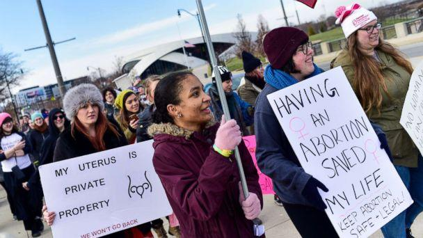 PHOTO: Women seen with placards during a protest against the controversial Heartbeat Bill or HB258, which bans abortion once a fetal heartbeat is detected, Dec. 12, 2018, in Columbus, Ohio. (Matthew Hatcher/SOPA Images/LightRocket via Getty Images)