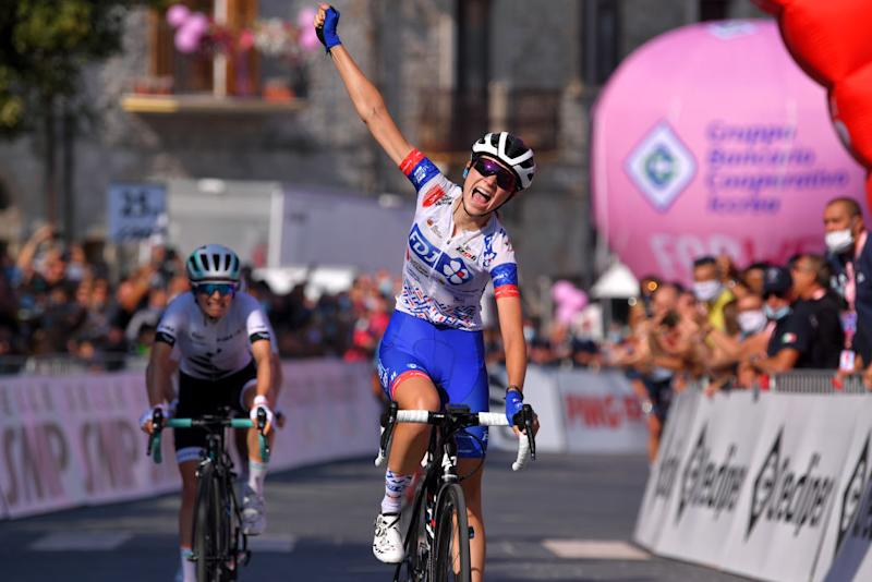 MOTTAMONTECORVINO ITALY SEPTEMBER 19 Arrival Evita Muzic of France and Team FDJ Nouvelle Aquitaine Futuroscope Celebration Niamh FisherBlack of New Zealand and Team Paule Ka during the 31st Giro dItalia Internazionale Femminile 2020 Stage 9 a 1099km stage from Motta Montecorvino to Motta Montecorvino 645m GiroRosaIccrea GiroRosa on September 19 2020 in Motta Montecorvino Italy Photo by Luc ClaessenGetty Images