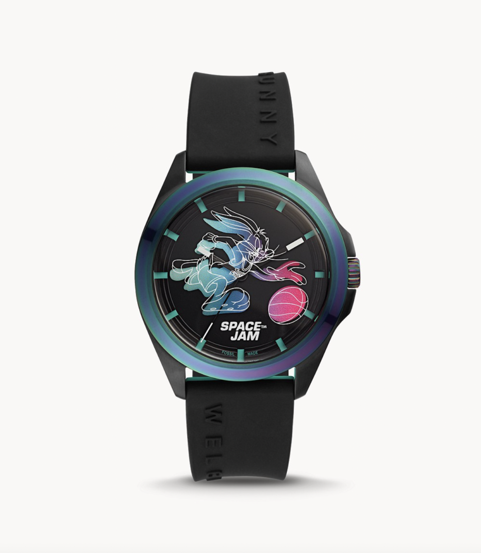 """<p><strong>Fossil</strong></p><p>fossil.com</p><p><strong>$159.00</strong></p><p><a href=""""https://go.redirectingat.com?id=74968X1596630&url=https%3A%2F%2Fwww.fossil.com%2Fen-us%2Fproducts%2Fspace-jam-bugs-bunny-limited-edition-box-set%2FLE1126SET.html&sref=https%3A%2F%2Fwww.esquire.com%2Fstyle%2Fmens-fashion%2Fg37050436%2Fspace-jam-a-new-legacy-lebron-james-merch%2F"""" rel=""""nofollow noopener"""" target=""""_blank"""" data-ylk=""""slk:Shop Now"""" class=""""link rapid-noclick-resp"""">Shop Now</a></p><p>This gives a whole new meaning to overtime. </p>"""