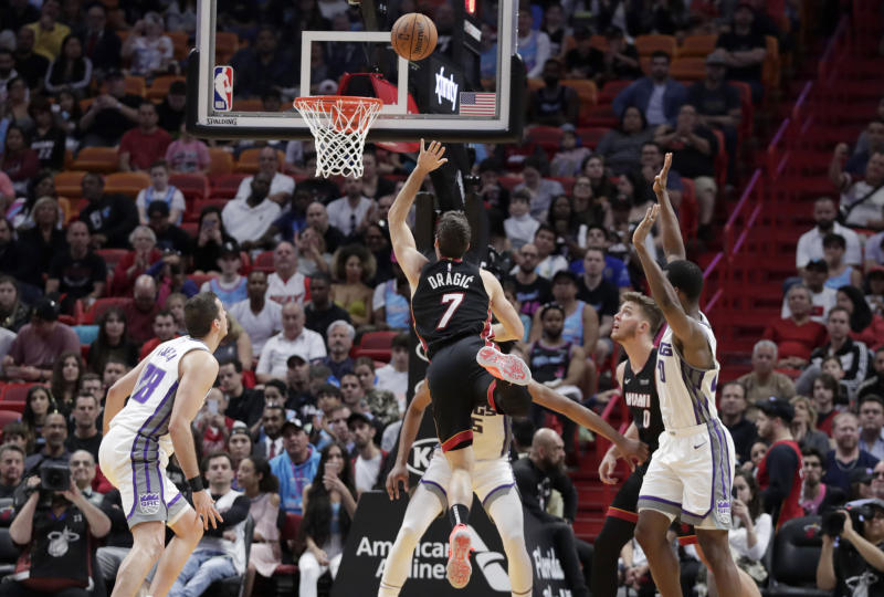 Miami Heat guard Goran Dragic (7) shoots during the first half of an NBA basketball game against the Sacramento Kings, Monday, Jan. 20, 2020, in Miami. (AP Photo/Lynne Sladky)